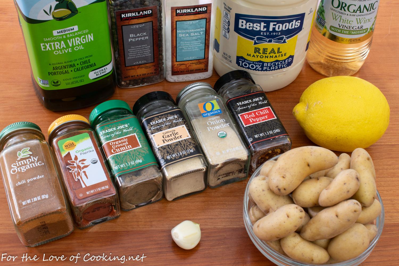 Roasted Spicy Fingerling Potatoes with Lemon-Garlic Aioli
