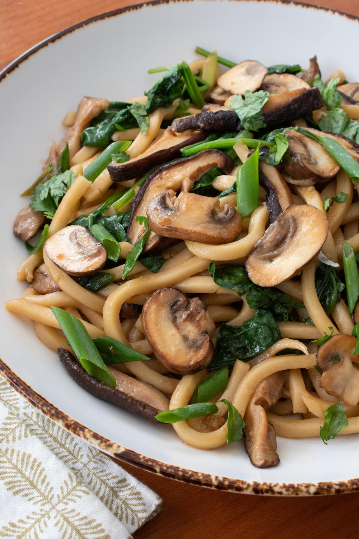 Udon Noodle and Mushroom Stir Fry