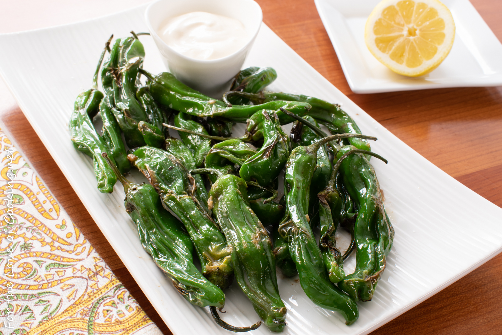 Blistered Shishito Peppers with Lemon and Garlic