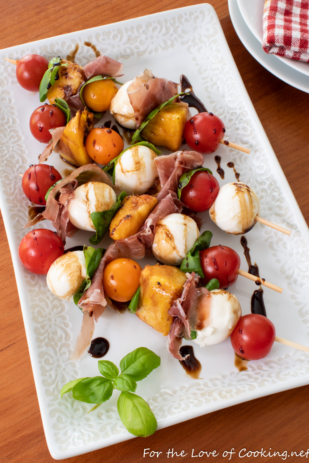 Caprese Skewers with Peach and Prosciutto