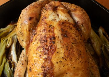Roast Chicken with Caramelized Leeks